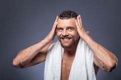 Attractive young guy is preparing for date Stock Photos