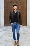 Attractive young handsome man, model of fashion Royalty Free Stock Photography