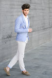 Attractive Young Handsome Man, Model Of Fashion In Urban Background Royalty Free Stock Photos
