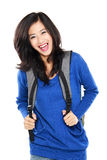 Attractive young happy student with bag Royalty Free Stock Photography