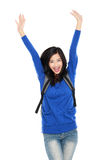 Attractive young happy student with bag raised her arm Stock Photos