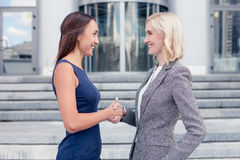Attractive young healthy businesswomen made a deal Royalty Free Stock Photography