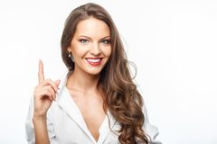 Attractive young healthy woman has great idea royalty free stock images