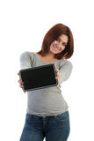 Attractive young Indian woman holding a tablet Royalty Free Stock Photography