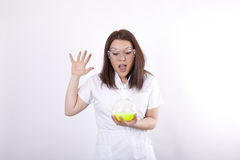 Attractive young laboratory technician surprised Stock Photos