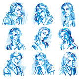 Attractive young ladies vector art portraits collection, blue ou Stock Photos