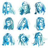 Attractive young ladies vector art portraits collection, blue ou Stock Image