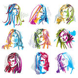 Attractive young ladies vector art portraits collection, outline Royalty Free Stock Photo
