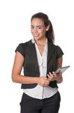Attractive young lady holding tablet computer Stock Photo