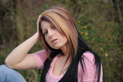 Attractive young lady outdoors  006 Stock Photos