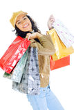 Attractive young lady with shopping bags Stock Images