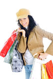 Attractive young lady with shopping bags Royalty Free Stock Image