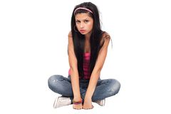 Attractive young lady on white Stock Photography