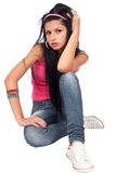 Attractive young lady on white Royalty Free Stock Photo