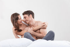 Attractive young lovers are resting at home Royalty Free Stock Images