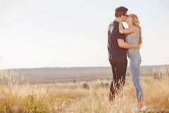 Attractive young loving couple is dating in the Stock Photo