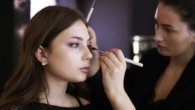 Attractive young make up model with natural makeup is sitting in front the mirror. Visagist works from the side stock footage