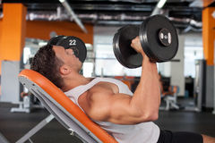 Attractive young male sportsman is training in gym Royalty Free Stock Photo