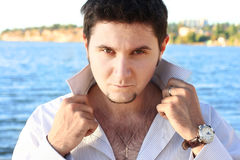 Attractive young man. Looks sexually Royalty Free Stock Image