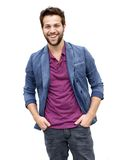 Attractive young man with beard laughing Stock Photo