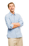 Attractive young man in casual clothing white background Royalty Free Stock Images