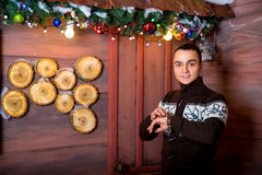 Attractive young man in Christmas decorations. Christmas. new year Stock Photo
