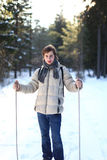 Attractive young man cross-country skiing Royalty Free Stock Image