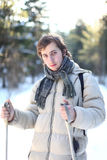 Attractive young man cross-country skiing Royalty Free Stock Photography