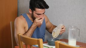 Attractive Young Man Eating Breakfast stock footage