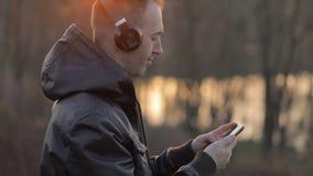 Man Enjoys the Music Outdoors stock video