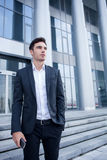Attractive young man has a business meeting Royalty Free Stock Photo