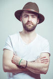 Attractive young man with hat Stock Photos