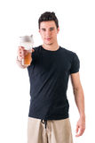 Attractive young man holding protein shake bottle Stock Photography