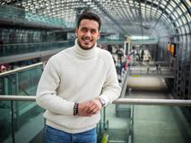 Attractive young man inside modern building royalty free stock photos