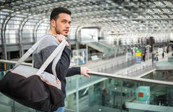 Attractive young man inside modern building royalty free stock photo