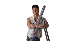 Attractive young man leaning on metal ladder Stock Photos