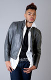 Attractive Young Man In Leather Jacket royalty free stock photo