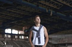 Attractive young man in an old building Royalty Free Stock Images