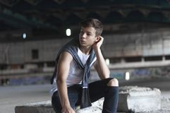 Attractive young man in an old building Stock Photos