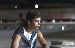 Attractive young man in an old building Stock Image