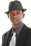 Attractive Young Man In Pinstripe Suit and Hat Royalty Free Stock Photos