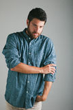Attractive young man with plaid shirt. Royalty Free Stock Photos