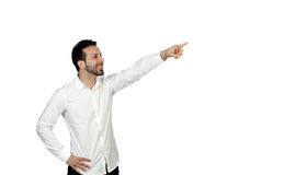 Attractive young men pointing something Stock Photography