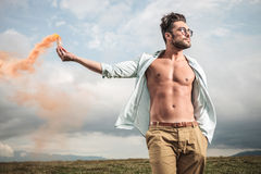 Attractive young man posing outdooor Stock Photo