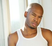 Attractive young man posing by window at home Royalty Free Stock Image