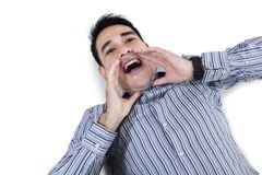 Attractive young man shouting Stock Image