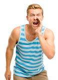 Attractive young man shouting - isolated on white background Stock Photography