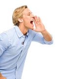 Attractive young man shouting isolated on white background Stock Image