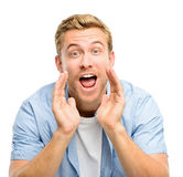 Attractive young man shouting - isolated on white background Royalty Free Stock Image