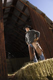 Attractive Young Man Standing on a Bale of Hay Royalty Free Stock Photography